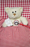 Sick teddy bear lying in a red checked bed. Concept for illness. Stock Photos