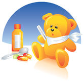Sick Teddy bear, medicines Stock Photos