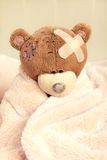 Sick teddy bear Royalty Free Stock Photos