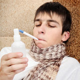 Sick Teenager with Flu Stock Images