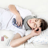 Sick Teenager with Flu Royalty Free Stock Photography