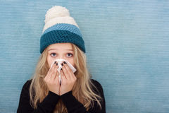 Sick teenager girl with flue Royalty Free Stock Images