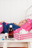 Sick teenager girl Stock Photography