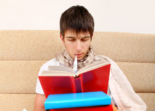 Sick Teenager read a Book Stock Photo