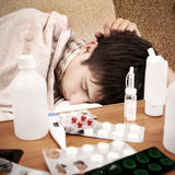 Sick Teenager sleep Stock Images