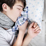 Sick Teenager sleeping Stock Image