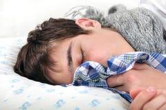 Sick Teenager Sleeps Royalty Free Stock Image