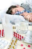 Sick Teenager Sleeps Royalty Free Stock Photos
