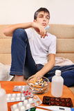 Sick Teenager smoking Royalty Free Stock Photography