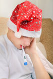 Sick Teenager with Thermometer Royalty Free Stock Images