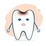 Sick tooth character Royalty Free Stock Images