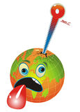 Sick, Unhealthy Earth. Cartoon illustration with globe and thermometer measuring the planet temperature, global warming Stock Photo