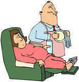 Sick Wife. This illustration depicts a tired, sick woman sitting in a recliner and her husband standing to the side wearing an apron and wiping a dish Stock Photography
