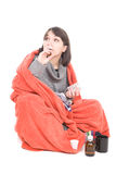 Sick woman. Young adult sick woman. over white background Royalty Free Stock Photos