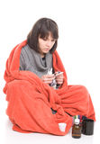 Sick woman. Young adult sick woman. over white background Royalty Free Stock Image