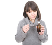 Sick woman. Young adult sick woman over white background Stock Photos