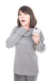 Sick woman. Young adult sick woman over white background Stock Photo