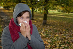 Sick woman. In the park Royalty Free Stock Images