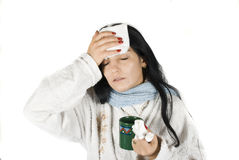 Sick woman. Having a bad cold with fever,same series in Sick people Stock Image