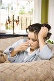 Sick Woman in Bathrobe Stock Photo