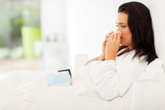 Sick woman bed Stock Photo