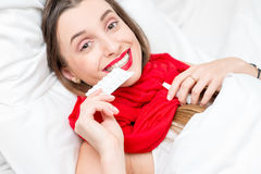 Sick woman in bed Royalty Free Stock Photography