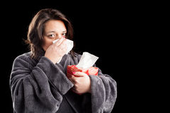 Sick woman on black background Royalty Free Stock Photo