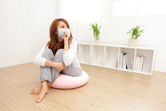 Sick Woman caught Cold and fever. Sick Woman caught Cold and cough at home. asian female Royalty Free Stock Photos