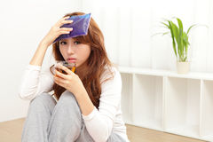 Sick Woman caught Cold and fever stock images