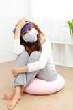 Sick Woman caught Cold and fever Stock Photos