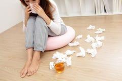 Sick Woman Caught Cold Stock Photos