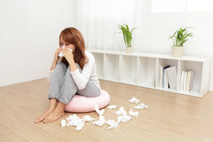 Sick Woman Caught Cold Stock Images