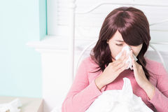 Sick Woman Caught Cold Royalty Free Stock Photos