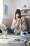 Sick woman with cold and flu royalty free stock photography