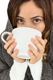Sick woman with a cup of warm tea Stock Photo