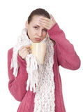 Sick woman with cup in winter sweater and scarf. Sick woman with big cup in red winter sweater and scarf on white background Stock Photos