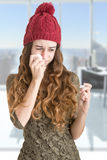 Sick Woman With Fever stock image