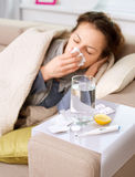 Sick Woman. Flu royalty free stock photos