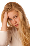 Sick woman with flu, fever and headache or migraine isolated ove Stock Images