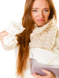 Sick woman with flu. Stock Image