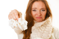 Sick woman with flu. Royalty Free Stock Image