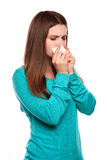 Sick Woman.Flu.Woman Caught Cold. Sneezing into Tissue. Headache. Virus .Medicines Royalty Free Stock Photos