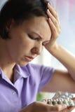 Sick woman with headach Royalty Free Stock Photos