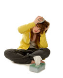 Sick Woman with headache Stock Photography