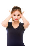 Sick woman with headache, migraine Royalty Free Stock Image