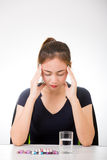 Sick woman with headache Royalty Free Stock Image