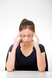Sick woman with headache Royalty Free Stock Photo