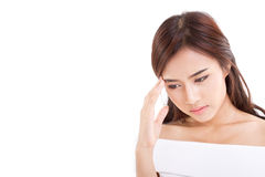 Sick woman with headache, migraine, pain, stress Stock Image