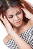 Sick woman with headache, migraine, stress, insomnia, hangover Stock Photography