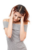 Sick woman with headache, migraine, stress, insomnia, nausea, hangover Royalty Free Stock Images